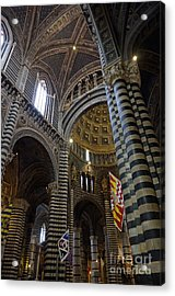 Siena's District Flags Inside Duomo Cathedral Acrylic Print by Sami Sarkis