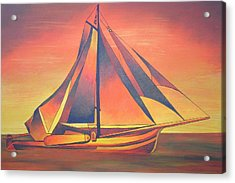 Acrylic Print featuring the painting Sienna Sails At Sunset by Tracey Harrington-Simpson