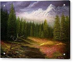 Acrylic Print featuring the painting Sierra Spring Storm by Loxi Sibley