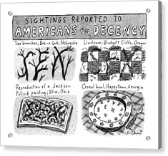 Sightings Reported To Americans For Decency Acrylic Print