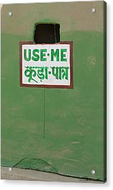 Sign In English And Hindi, Keoladeo Acrylic Print by Inger Hogstrom