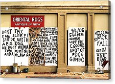Sign Of Distress Post Hurricane Katrina Message Acrylic Print by Michael Hoard