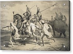 Sikh Chieftans Going Hunting Acrylic Print by A Soltykoff