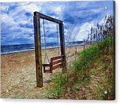 Silence Of The Waves Acrylic Print by Cary Shapiro