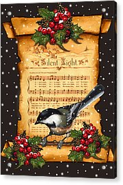Silent Night Christmas Greeting Card With Bird Acrylic Print