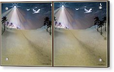 Silent Night - Gently Cross Your Eyes And Focus On The Middle Image Acrylic Print by Brian Wallace