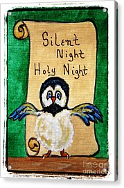 Silent Night - Whimsical Chickadee Choir Director Acrylic Print