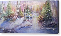 Acrylic Print featuring the painting Silent Snowfall by Patricia Schneider Mitchell