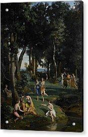 Silenus Acrylic Print by Jean Baptiste Camille Corot
