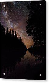 Silhouette Curves In The Starry Night Acrylic Print by Mike Berenson