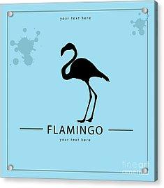 Silhouette Flamingo In The Retro Style Acrylic Print