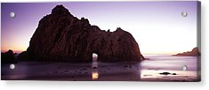 Silhouette Of A Cliff On The Beach Acrylic Print
