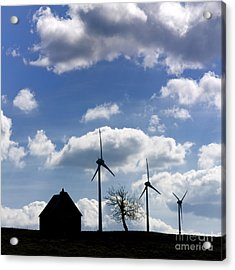 Silhouette Of A Farm And A Tree Acrylic Print by Bernard Jaubert