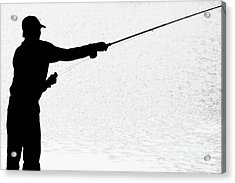 Silhouette Of A Fisherman Holding A Fishing Pole Bw Acrylic Print