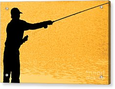 Silhouette Of A Fisherman Holding A Fishing Pole Gold Acrylic Print