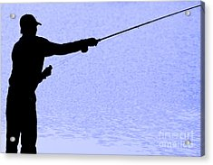 Silhouette Of A Fisherman Holding A Fishing Pole Acrylic Print
