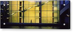 Silhouette Of A Person Walking In Front Acrylic Print by Panoramic Images