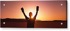 Silhouette Of A Person Wearing Boxing Acrylic Print