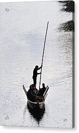 Silhouette Of A Punt On The River Acrylic Print by Matthias Hauser