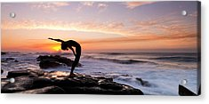 Silhouette Of A Woman Practicing Yoga Acrylic Print by Panoramic Images
