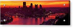 Silhouette Of Buildings At Dawn, Three Acrylic Print by Panoramic Images