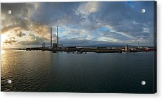 Silhouette Of Chimneys Of The Poolbeg Acrylic Print