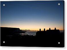 Silhouette Of Coastguard Cottages At Seaford Head At Sunrise Acrylic Print by Matthew Gibson
