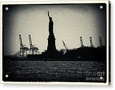 Silhouette Of Miss Liberty Acrylic Print by Sabine Jacobs