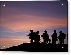 Silhouette Of Modern Troops In Middle East Silhouette Against Be Acrylic Print by Matthew Gibson