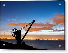 Silhouette Of The Davit In Dublin Port Acrylic Print by Semmick Photo