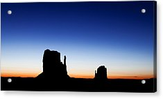 Silhouette Of The Mitten Buttes In Monument Valley  Acrylic Print by Susan Schmitz