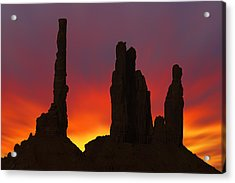 Silhouette Of Totem Pole After Sunset - Monument Valley Acrylic Print by Mike McGlothlen