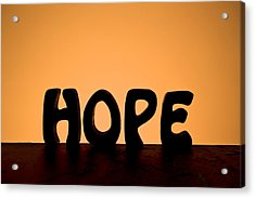 Silhouette Single Word Hope Acrylic Print by Donald  Erickson