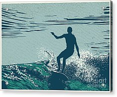 Silhouette Surfer And Big Wave Acrylic Print