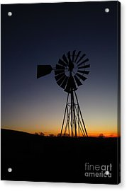 Silhouetted Aermotor Acrylic Print by Dan Julien