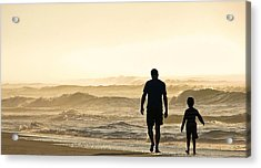 Silhouetted Father And Son Walk Beach  Acrylic Print