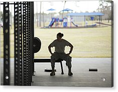 Silhouetted Female Soldier Barbell Training At Air Force Military Base Acrylic Print by Sean Murphy
