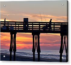 Silhouetted Fisherman On Ocean Pier At Sunrise Acrylic Print