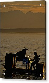 Silhouetted Sea Monster Playing Piano.tif Acrylic Print by Jim Corwin