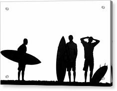 Silhouetted Surfers Acrylic Print by Sean Davey