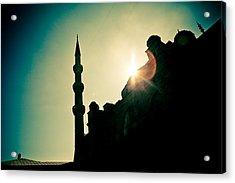 Silhouettes Of Blue Mosque Istambul Turkey Acrylic Print by Raimond Klavins