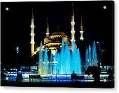 Silhouettes Of Blue Mosque Night View Acrylic Print by Raimond Klavins