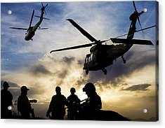 Silhouettes Of Soldiers During Military Mission At Dusk Acrylic Print by Guvendemir