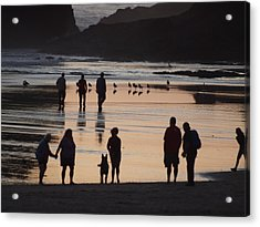 Silhouettes On The Beach Acrylic Print