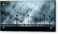 Silhouettes Sur La Passerelle. Blue. Acrylic Print by Sol Marrades