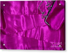 Acrylic Print featuring the photograph Silk Background With Purse by Gunter Nezhoda