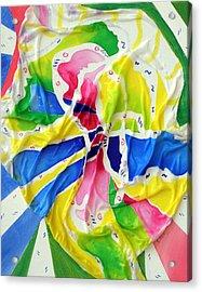 Silk Color Whirl Acrylic Print by Sandra Fox