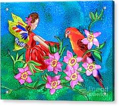 Silk Fairy And Parrot Acrylic Print