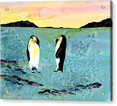 Silk Penguins Acrylic Print by Carolyn Doe