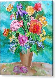 Silk Teal Bouquet Acrylic Print